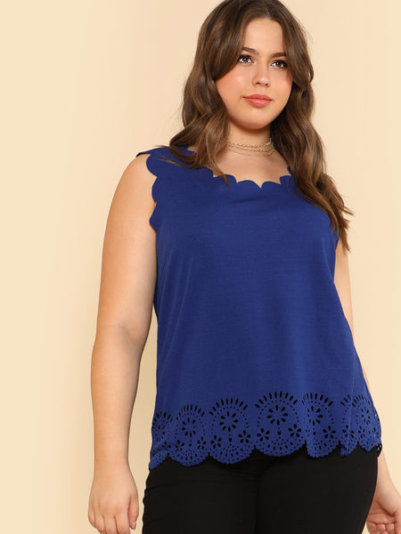 Laser Cut Scalloped Trim Shell Top
