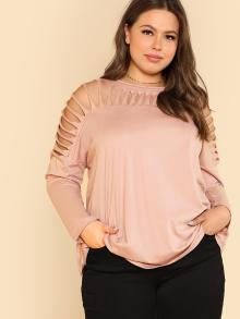 Cut Out Yoke Solid Tee
