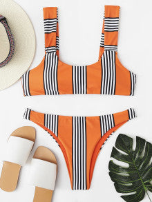 Knot Striped Bikini Set