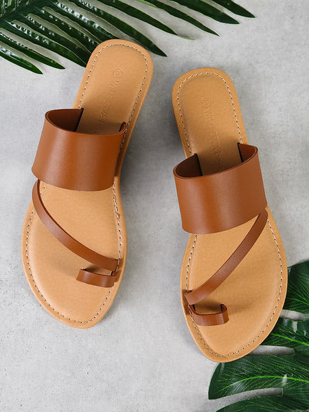 Toe Ring Diagonal Strap Single Band Slide Sandal