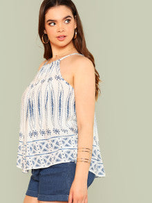 Abstract Print Top with Keyhole Back OFF WHITE