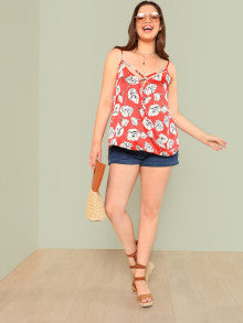 Floral Print Surplice Top with Lattice Front RED ORANGE