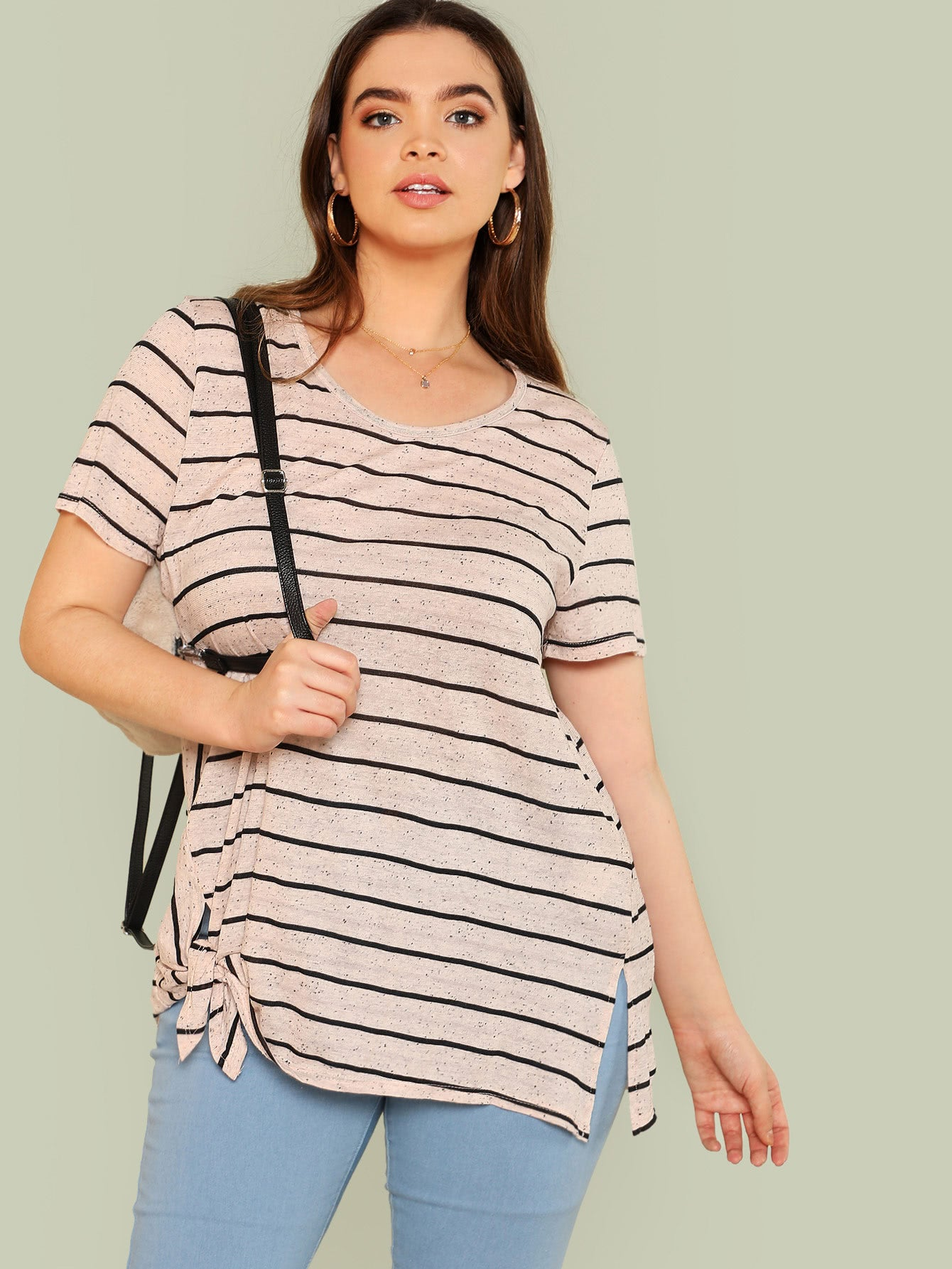 Striped Tee with Side Knot BLUSH BLACK