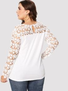 Hollow Out Lace Panel Asymmetric Tee