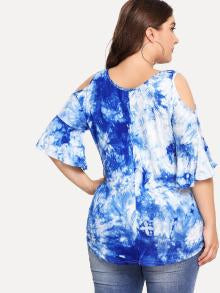 Water Color Cut Out Neck Tee