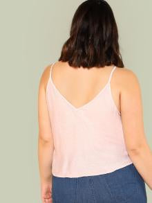 Knot Front Button Detail Cami Top
