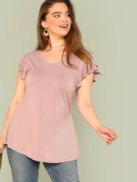 Layered Flutter Sleeve Tee