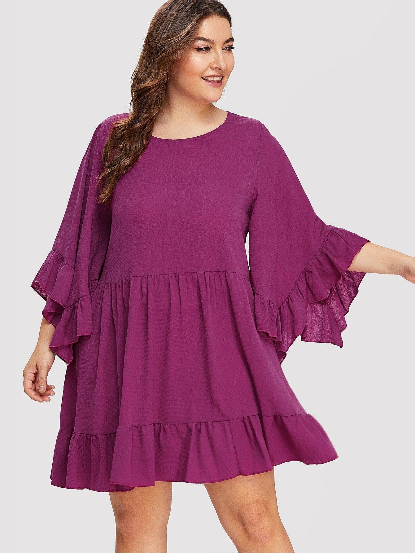 Trumpet Sleeve Ruffle Smock Dress