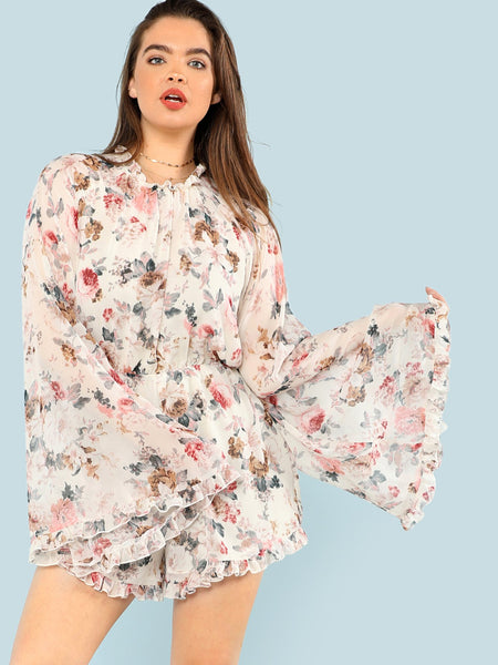 Exaggerate Flounce Ruffle Trim Floral Romper