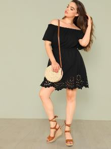 Laser Cut Scalloped Bardot Dress