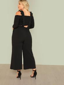 Tie Waist Wide Leg Jumpsuit With Ruffle Strap