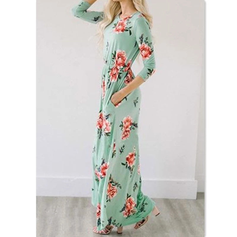 Quarter Sleeve Floral Maxi Dress