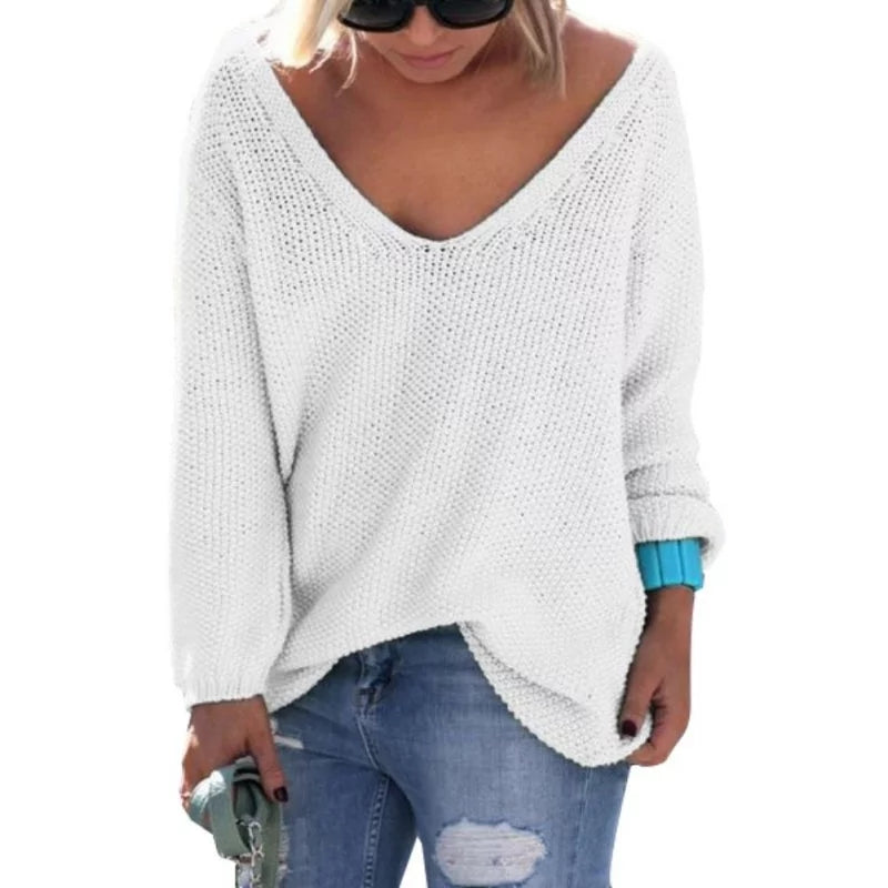 Long Sleeve Knitted V Neck Sweater