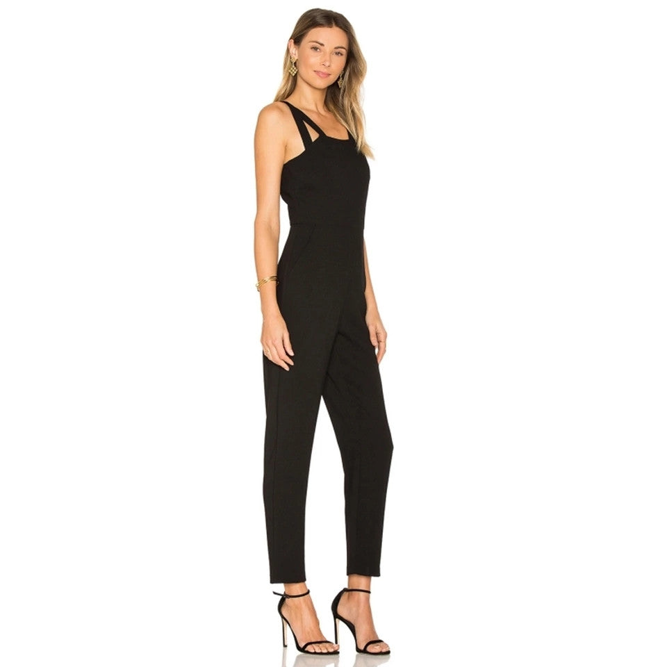 Hollow Cut Out Solid Jumpsuit