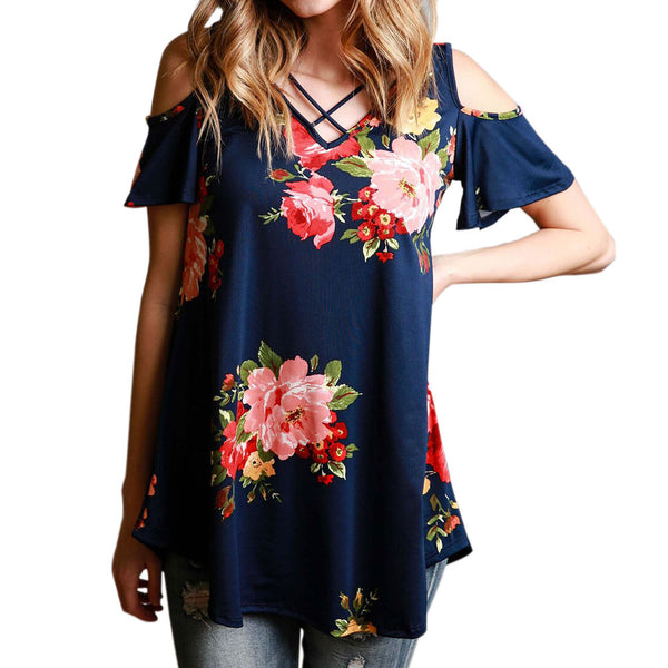V Neck Cold ShoulderFloral Print Blouse