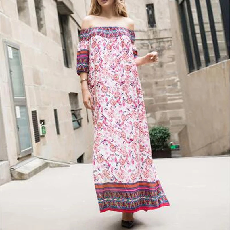 Over the Shoulder Printed Maxi Dress