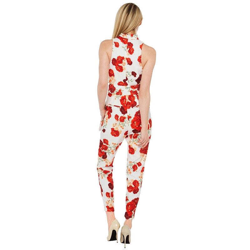 High Neck Floral Jumpsuit
