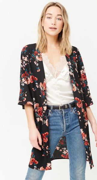 Best Seller! Floral Open-Front Cardigan