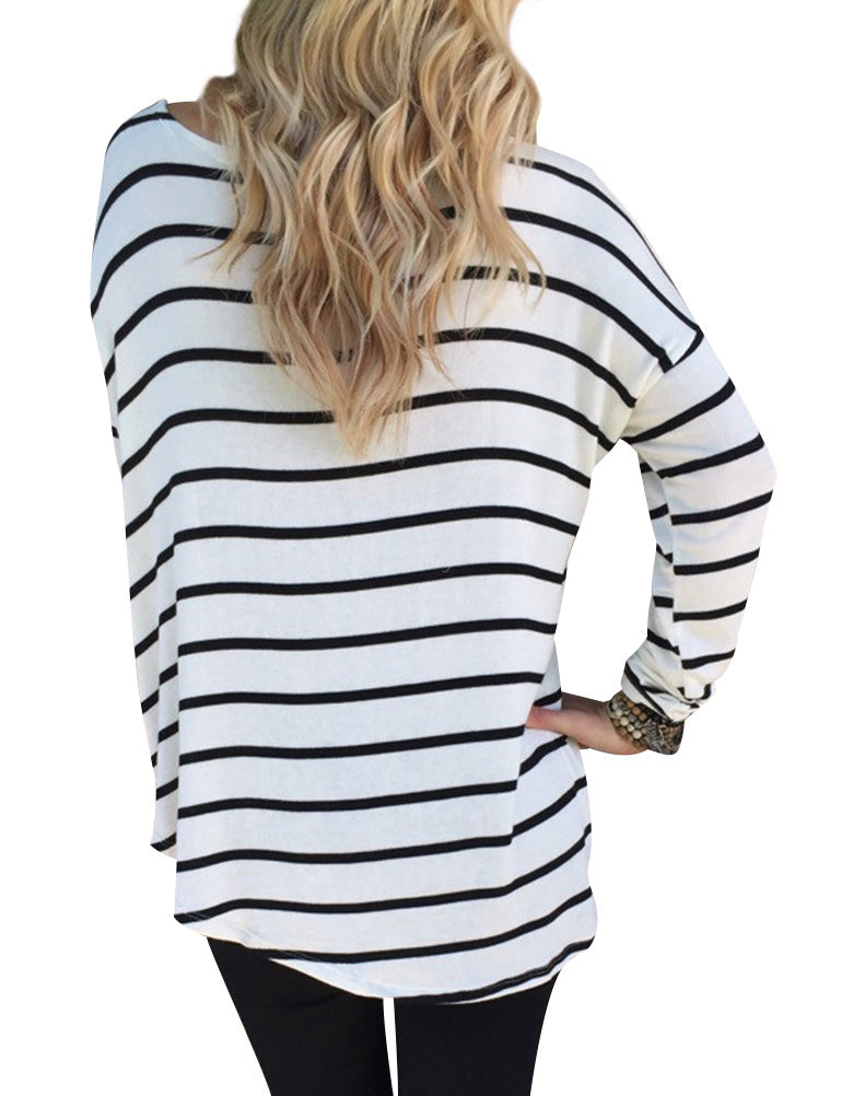 Long Sleeve Black and White Stripe Tunic Top