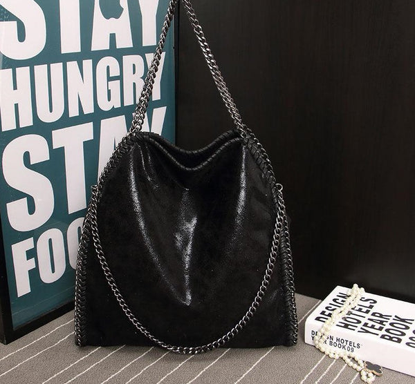 Faux Leather Shoulder Chain Bag