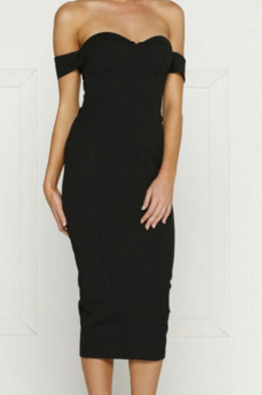 Strapless Mid Length Bodycon Dress