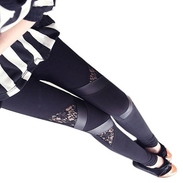 Lace & Leather Trim Leggings