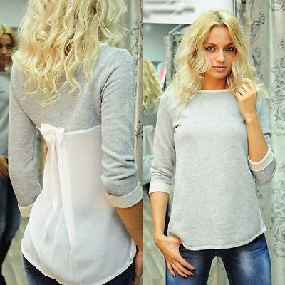Chiffon Back Long Sleeve Blouse