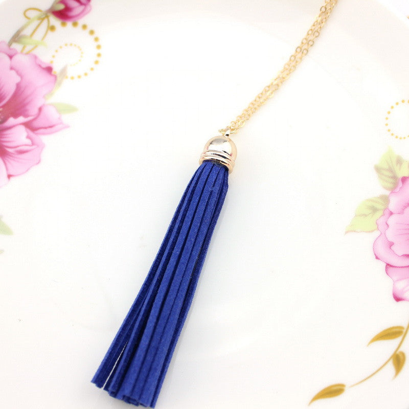 Leather Long Tassel Necklace