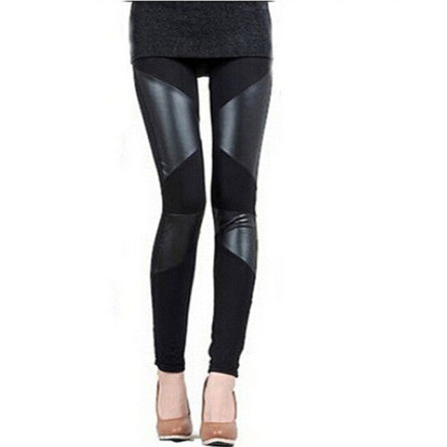 Leggings with Faux Leather Detailing