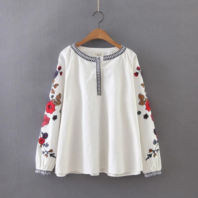 Long Sleeve Loose Embroidery Blouse