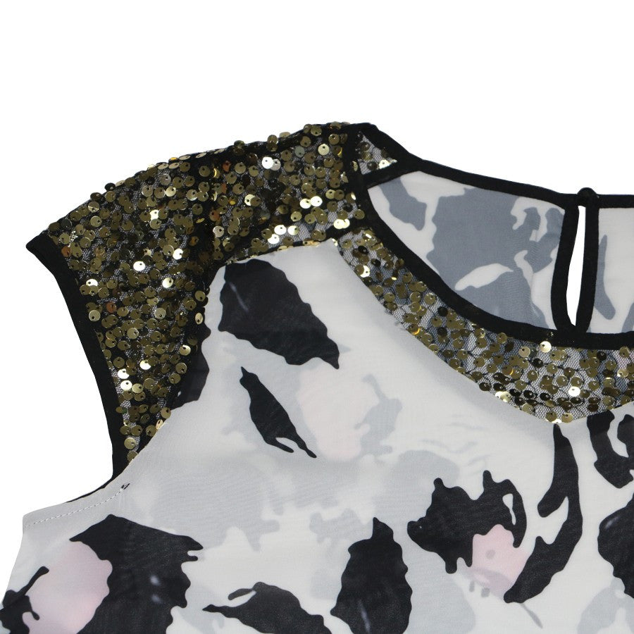 Sheer Printed Sequin Blouse