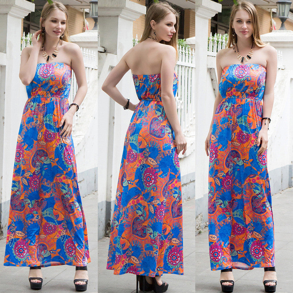 Strapless Off Shoulder Printed Maxi Dress