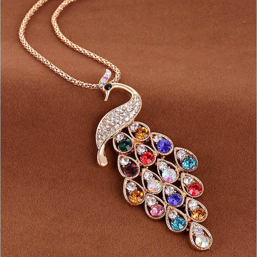 Long Colorful Peacock Necklace