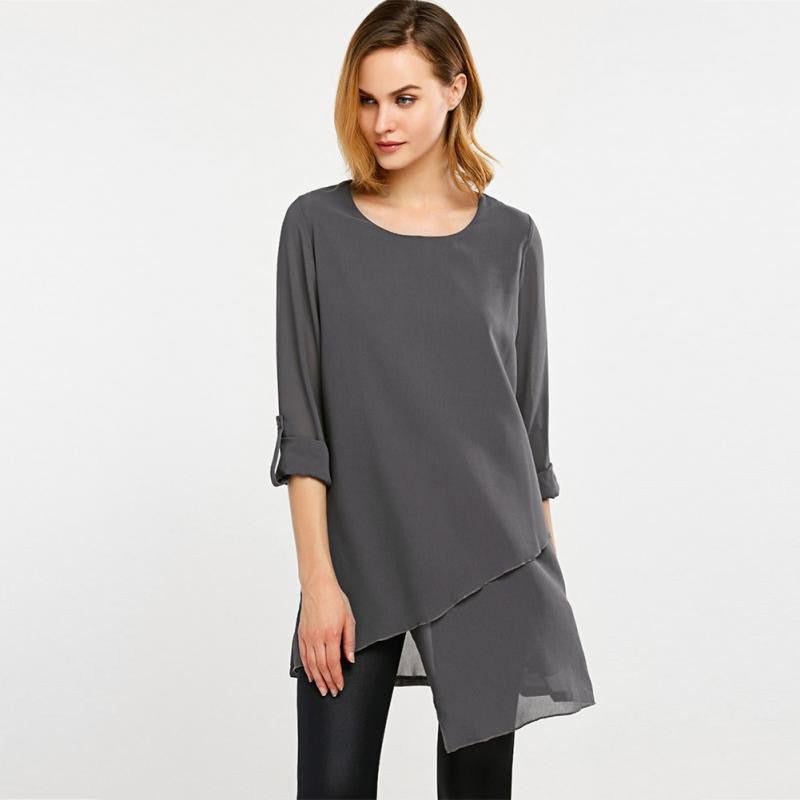 Quarter Sleeve Chiffon Blouse
