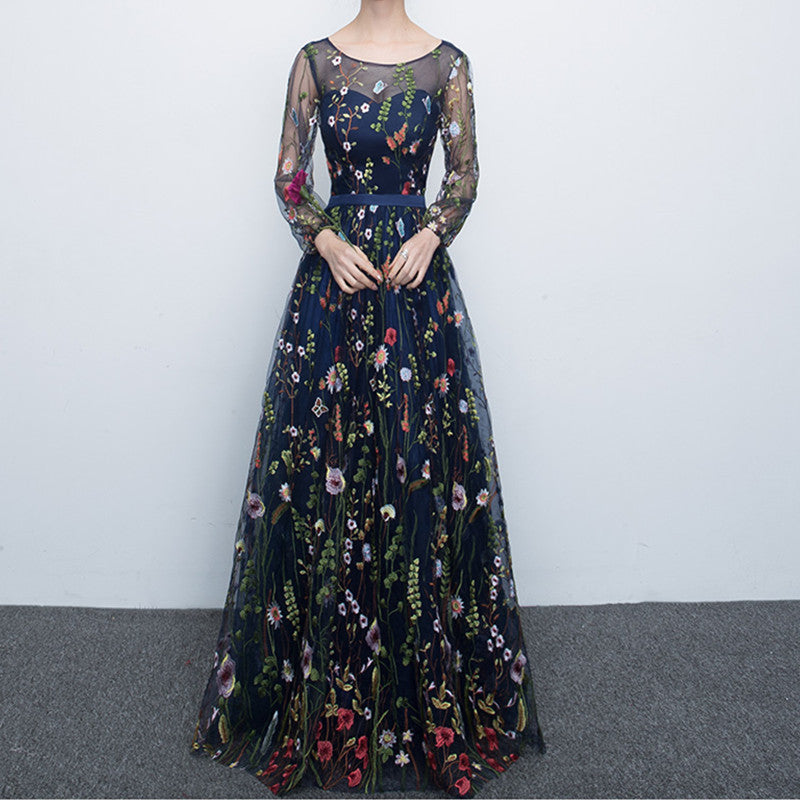 Flower Embroidery Evening Gown