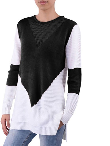 Long Sleeve Mesh Front Sweater
