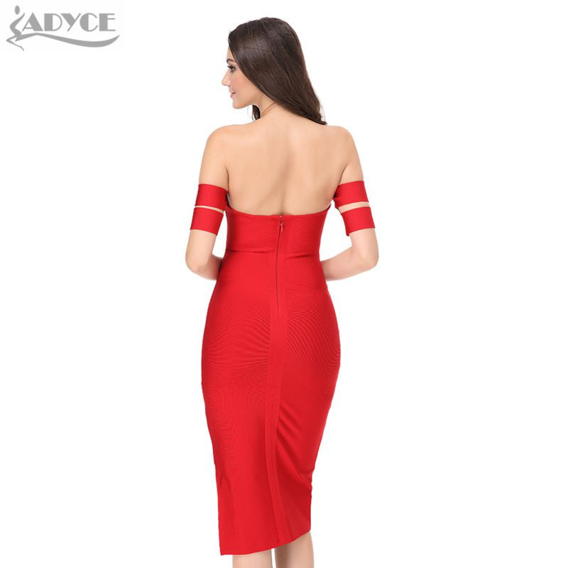 Strapless Double Side Sleeve Bodycon Dress