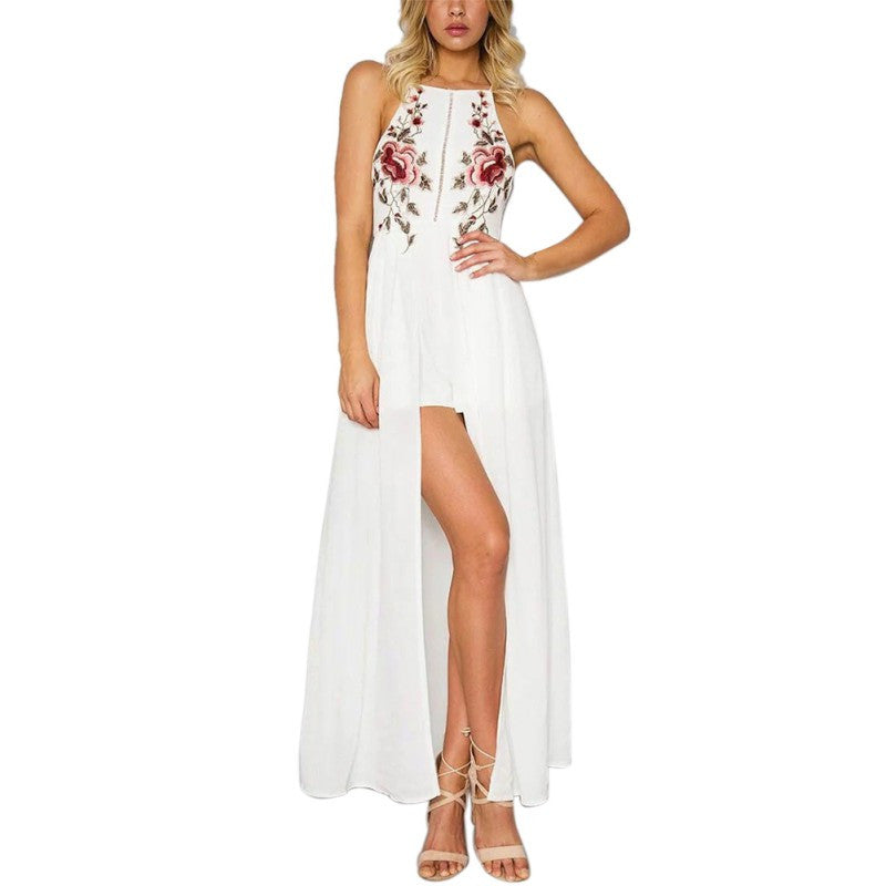 Halter Neck Embroidery Maxi Dress