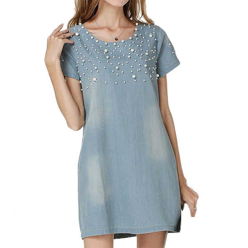 Denim Beaded Dress
