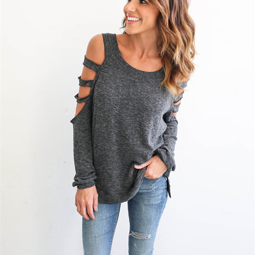 Cut-out Long Sleeve Tops