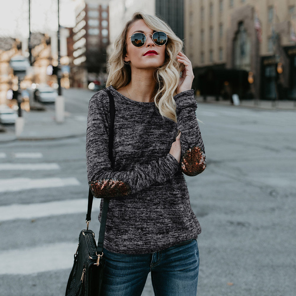 Casual Long Sleeve Sequined blouses