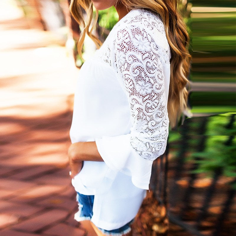 Lace Crochet  Long Sleeve  Blouse