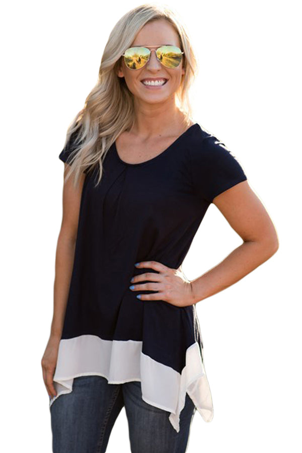 Casual Two Tone Asymmetric Top