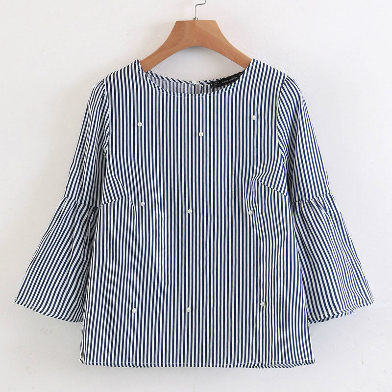 Pearls Beading Striped Blouses