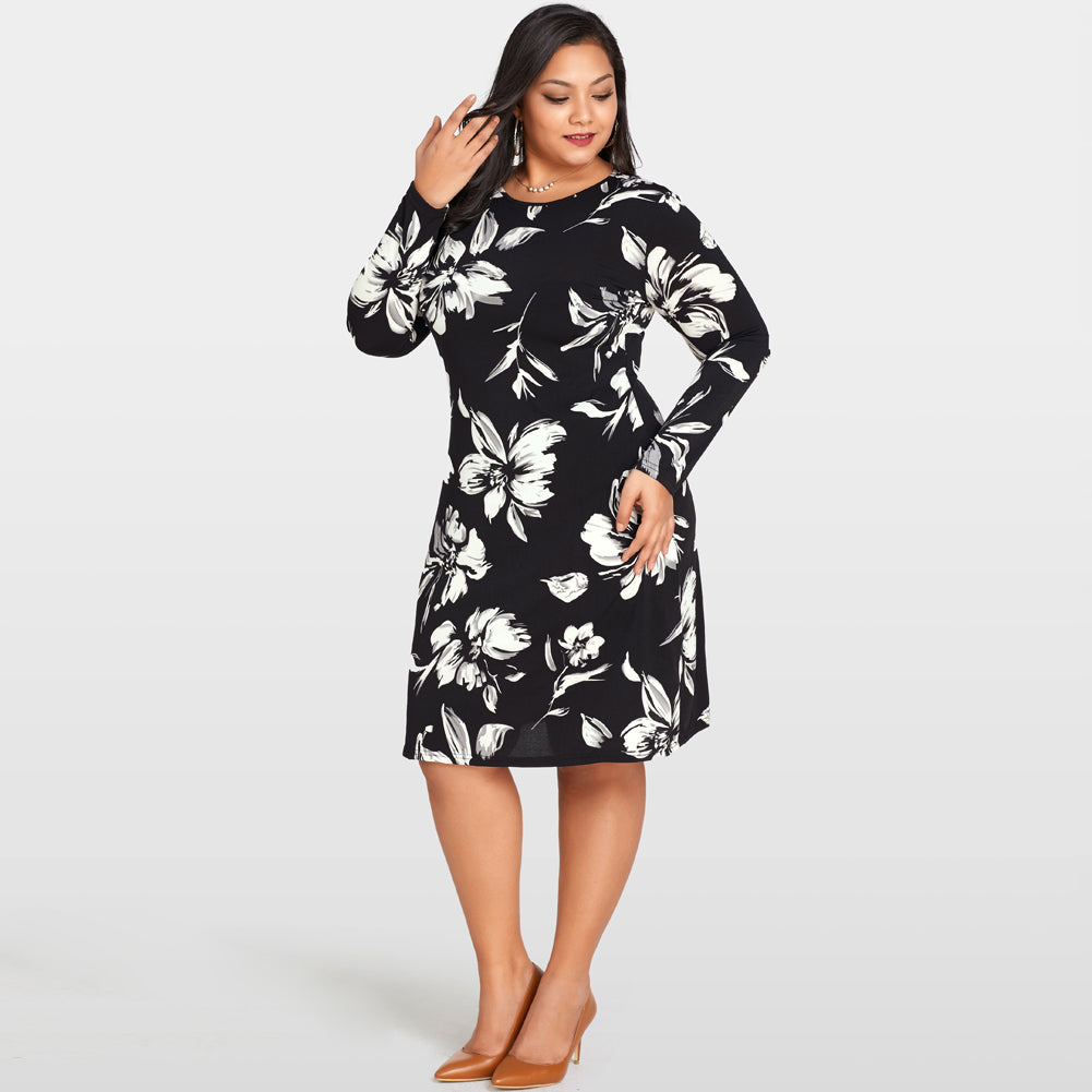 Floral Printed Midi Dress with Long Sleeve