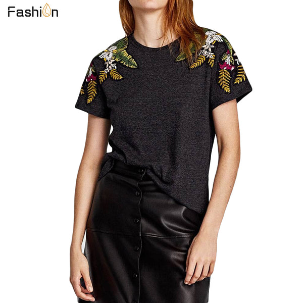 Embroidered Floral T shirt