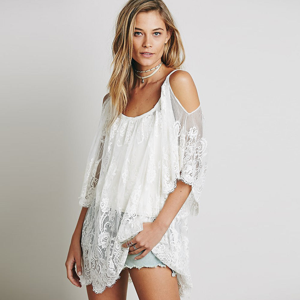 Sheer Floral Lace Embroidered Crochet Summer Dresses