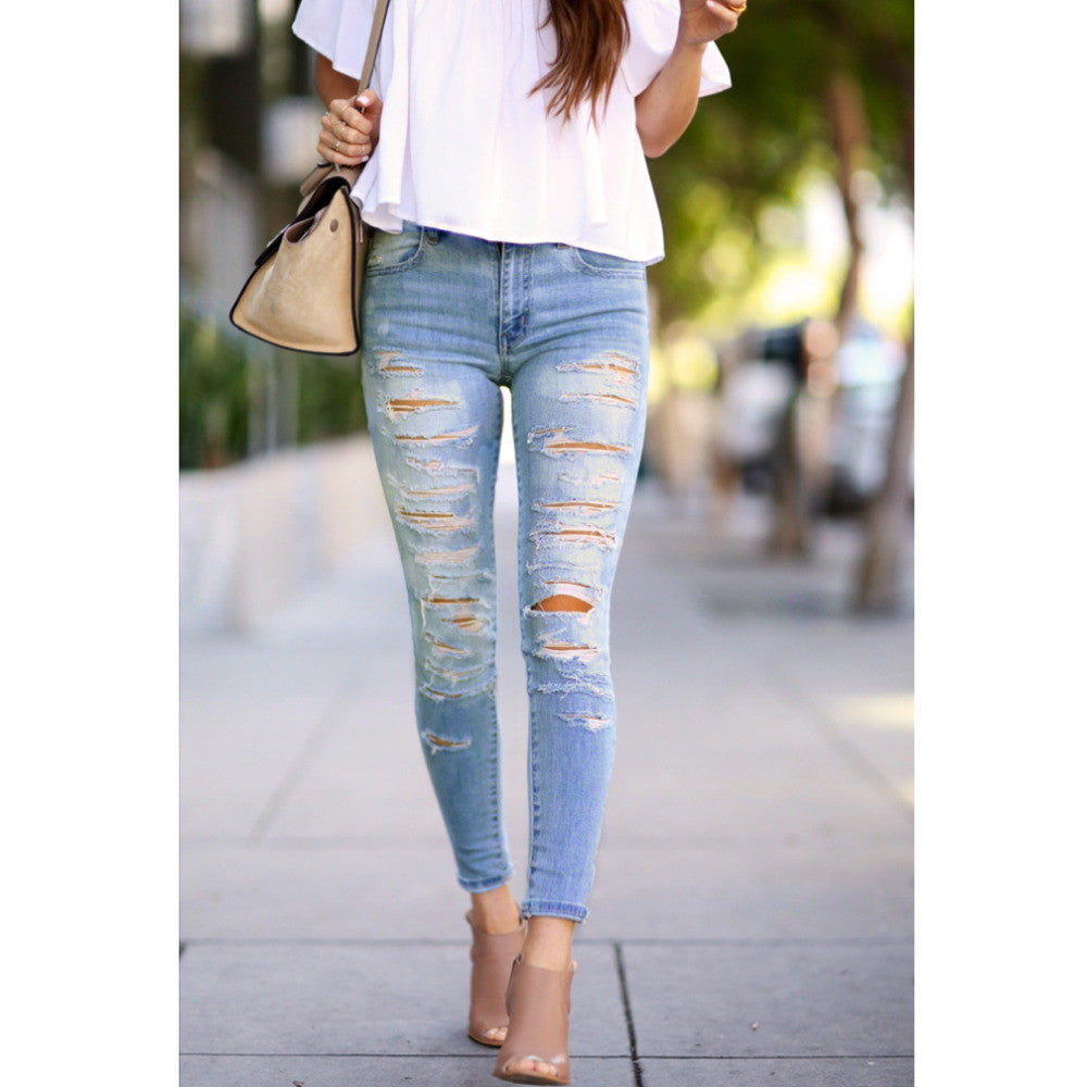 Denim Bleach Wash Pants