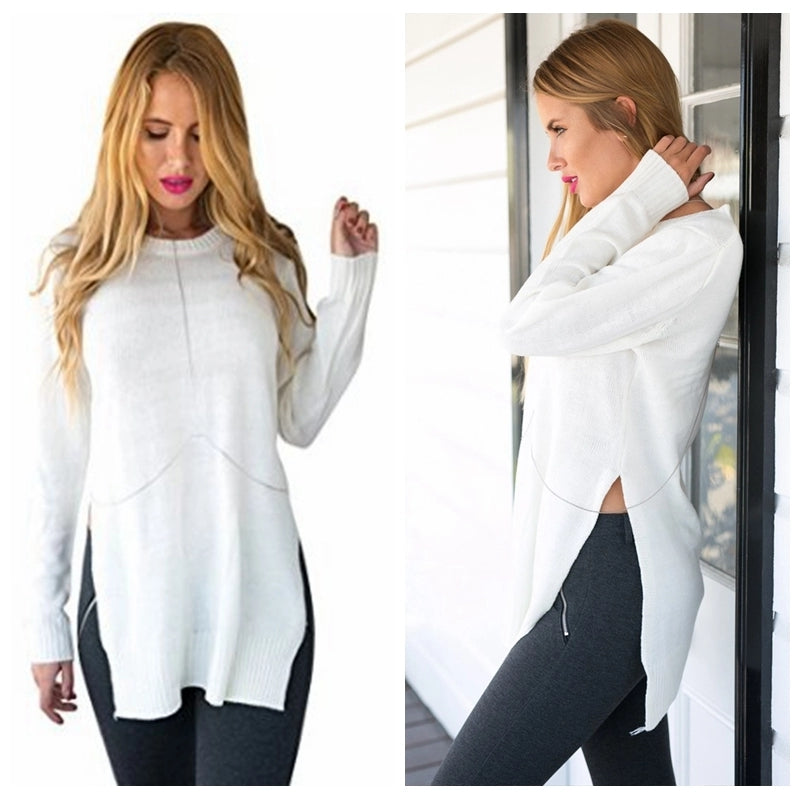 Long Side Split Knitted Sweater