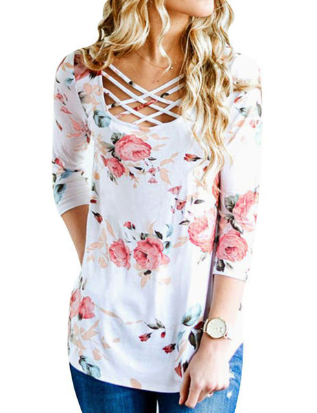 Long Sleeve Criss Cross  Floral Print Tops